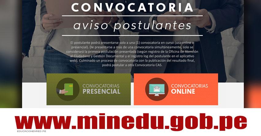 MINEDU: Convocatoria CAS - Puestos de Trabajo en el Ministerio de Educación - www.minedu.gob.pe