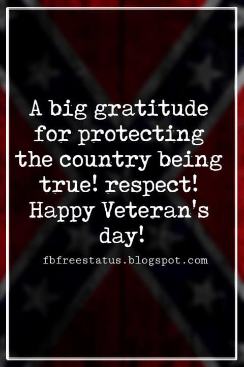 Veterans Day Quotes, Veterans Day Messages, A big gratitude for protecting the country being true! respect! Happy Veteran's day!