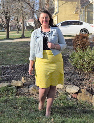 denim jacket, yellow pencil skirt, black tank, nude wedges