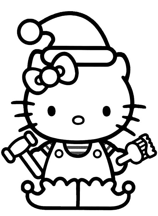 Heres Hello Kitty As One Of Santas Elves Click On This Christmas Cloring Picture And It Will Open Full Size