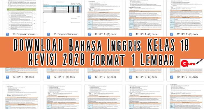 gambar rpp 1 lembar bahasa Inggris kelas 10 revisi 2020
