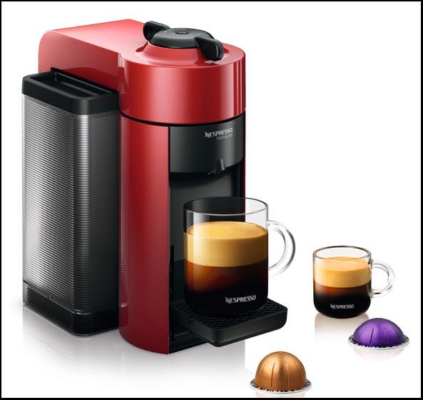 Nespresso Vertuo rouge et capsules