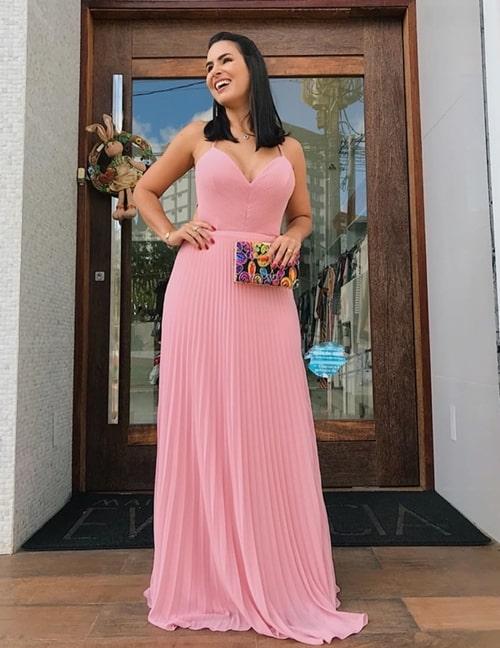 vestido de festa longo rosa com saia plissada