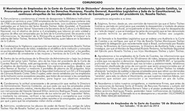 CAMPO PAGADO MOVIMIENTO DE EMPLEADOS  DE LA CORTE DE CUENTAS,PUBLICADO EL 10/04/2014
