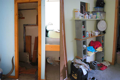 Before and after gold rush cabin clean up of closet