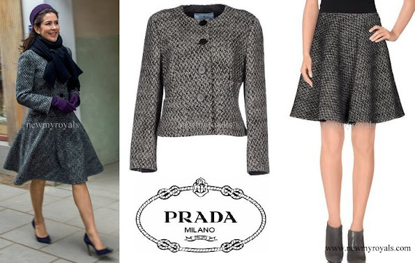 Crown princess Mary wore Prada Grey Tweed Jacket and Knee Lenght Skirt