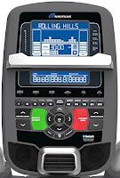 Nautilus E618 SightLine console, image, tilt-adjustable, dual track STN blue backlit LCD display, Bluetooth, 4 user profiles