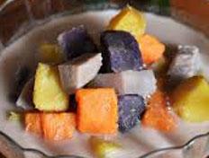 Resep praktis (mudah) bubur cha cha spesial (istimewa) enak, legit, sedap, nikmat lezat
