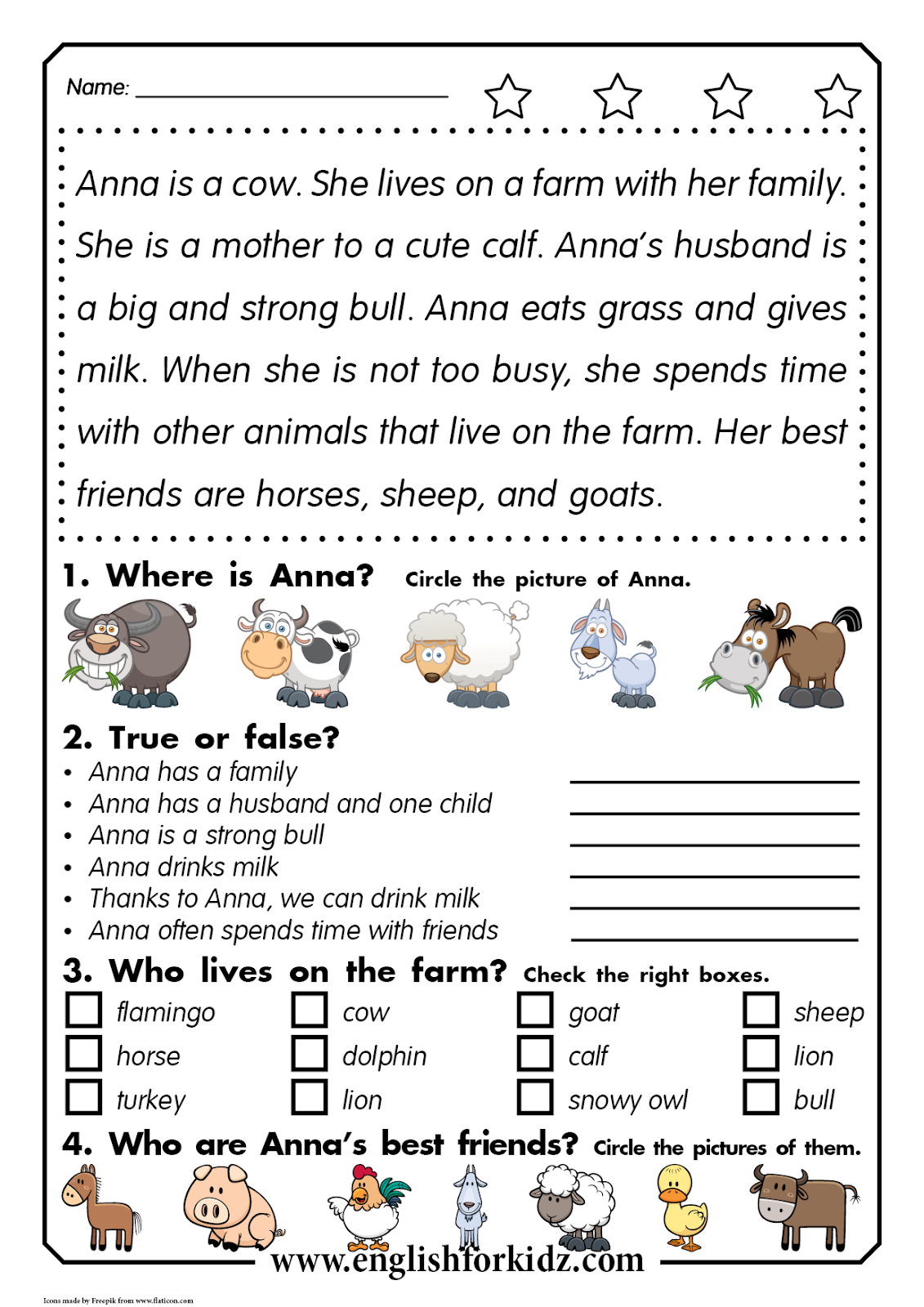 Reading Comprehension Worksheets Anna The Cow