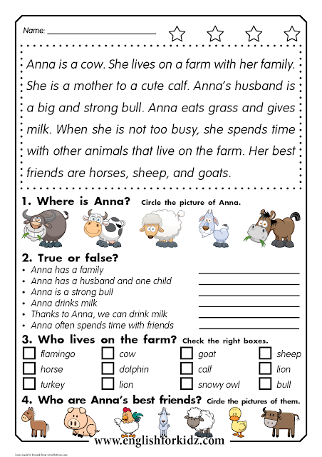Reading comprehension worksheet for elementary school