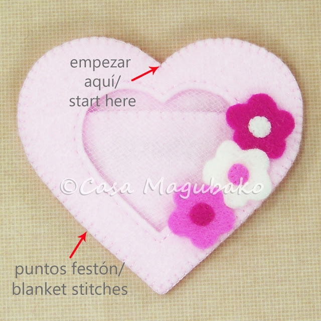 Heart Felt Case Tutorial - Blanket Stitching the Heart by casamagubako.com