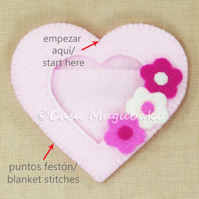 Heart Felt Case Tutorial - Blanket Stitching the Heart by casamagubako.com