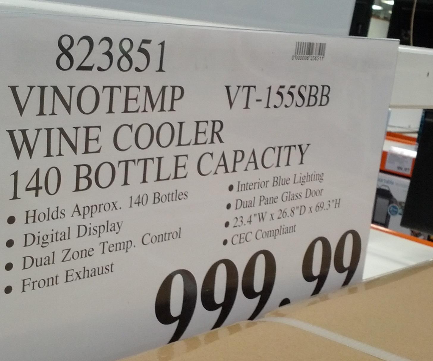 Vinotemp Vt 155sbb 140 Bottle Dual Zone Wine Cooler