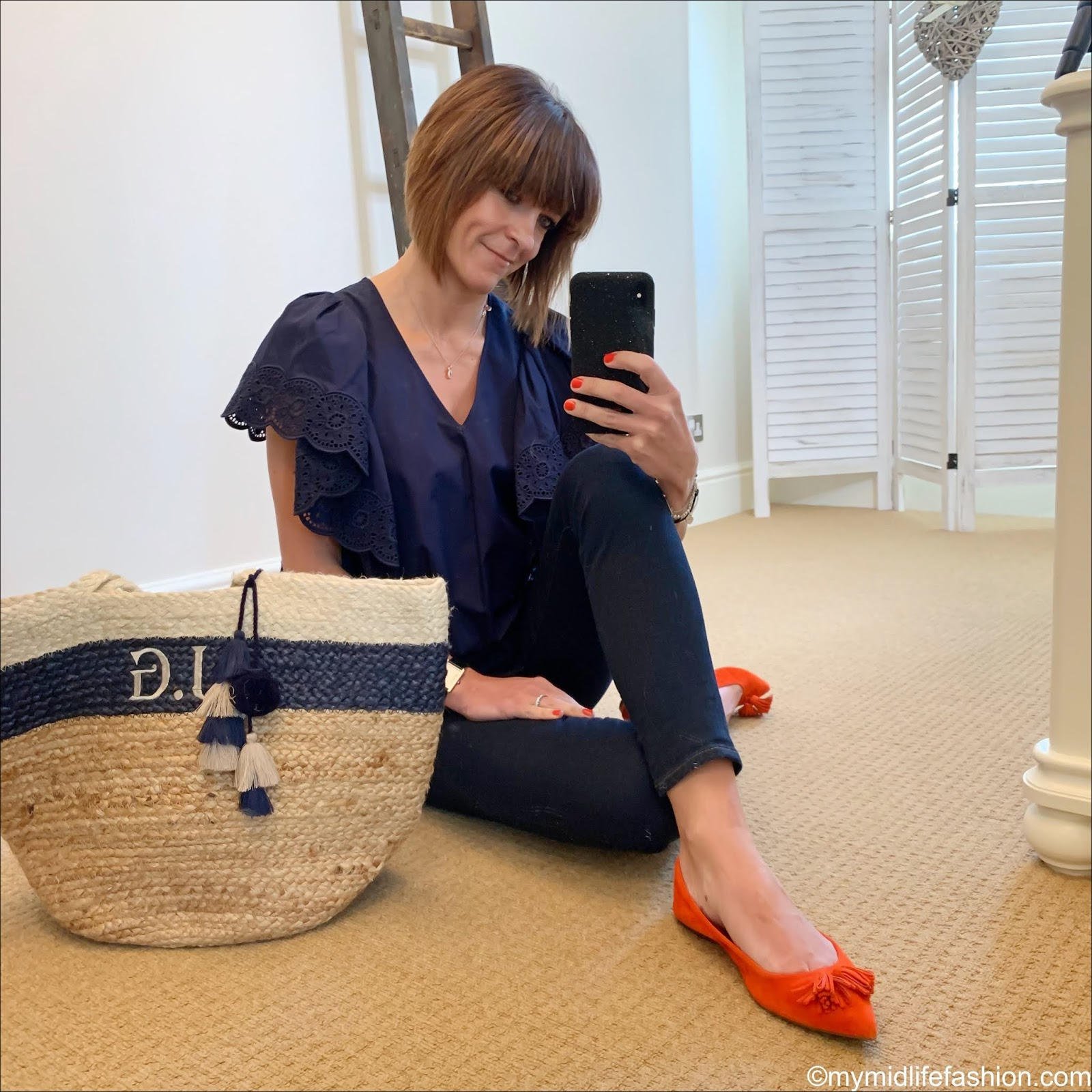 my midlife fashion, see by Chloe cotton poplin broderie anglaise blouse, j crew 8 toothpick in classic wash, initially London Canonbury bag, j crew suede pointed tassel flats