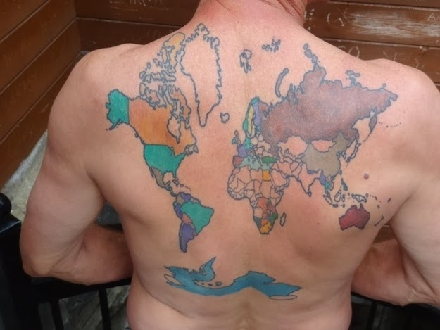 He's been to 40 so far, but he's still counting. - This Man Has Been Colouring In The Countries He Has Visited On His Back