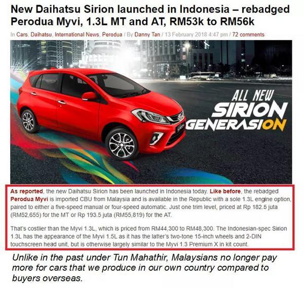 Harga kereta lebih murah sekarang berbanding era Mahathir