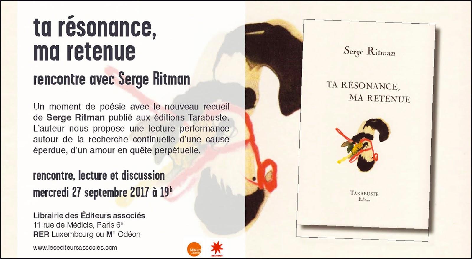 d1747086082 ta résonance  Lecture le 27 septembre à la librairie des éditeurs ...