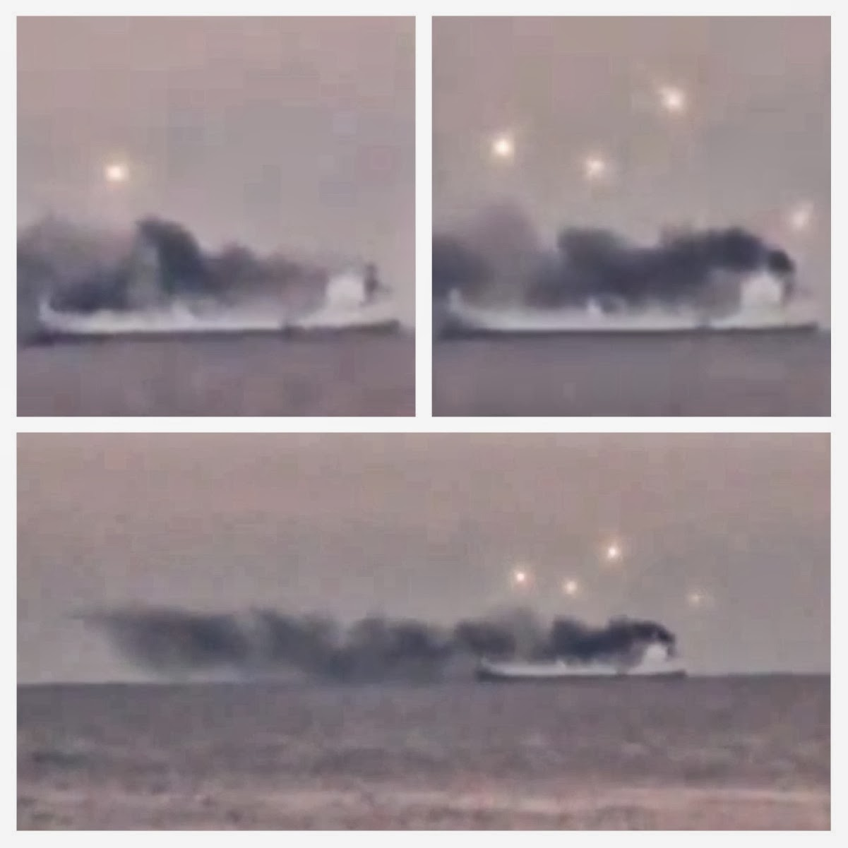 UFO SIGHTINGS DAILY: Glowing UFOs Appear Over Smoking Ship Off