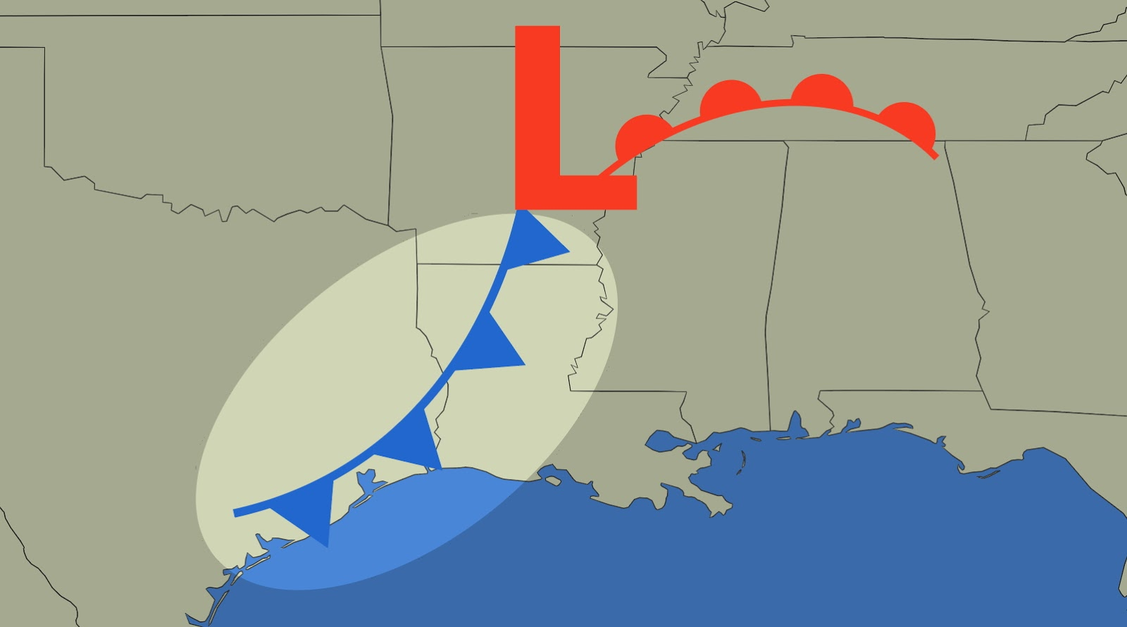 The triangles indicate the direction of the cold front