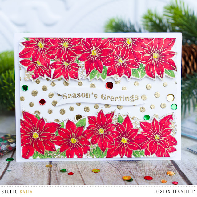 Seasons Greetings Poinsettia Trimmings Card | by ilovedoingallthingscrafty.com
