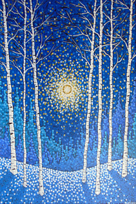Frozen Birch Forest by Aaron Kloss, Sivertson Gallery Grand Marais, painting of winter birch, painting of snowy birch