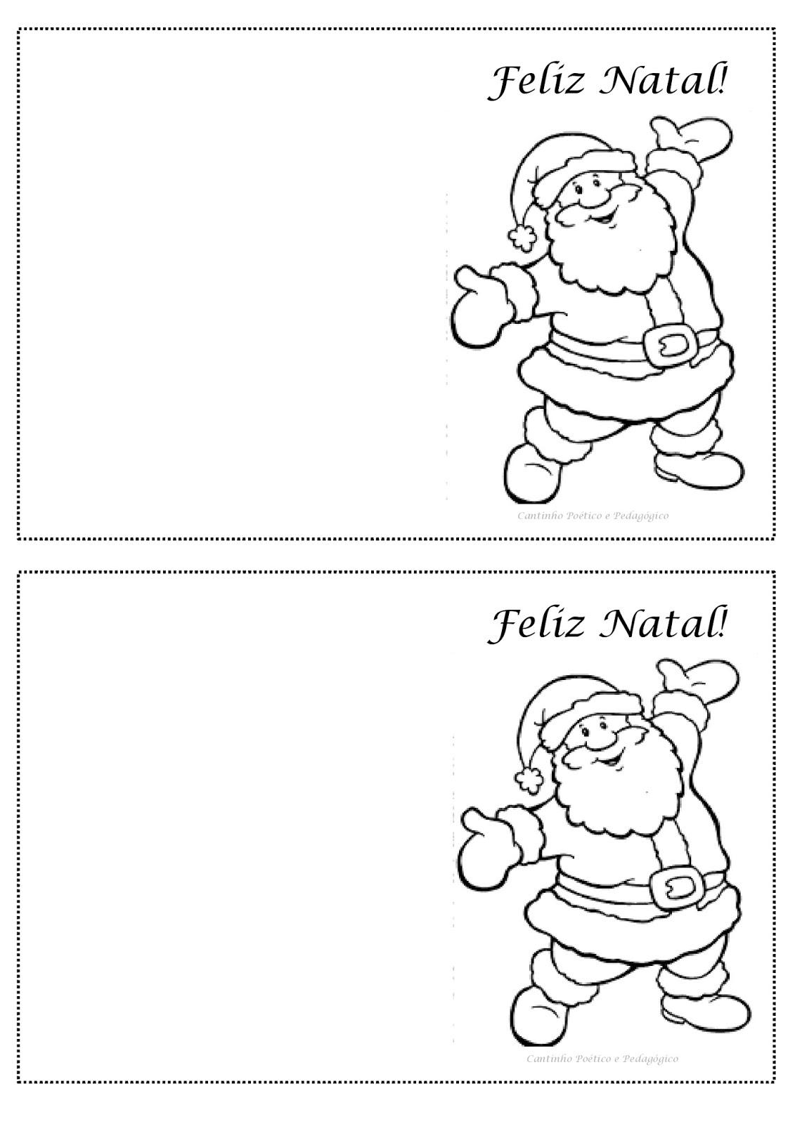 Cantinho Poetico E Pedagogico Cartoes De Natal Para Colorir