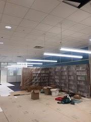 New ceiling lighting above bookshelves