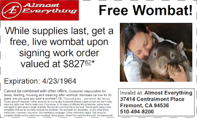 Free Wombat Offer--we have a warped sense of humor. The other coupons are real.