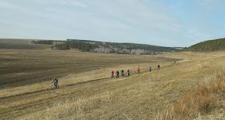Велосипедисты в поле