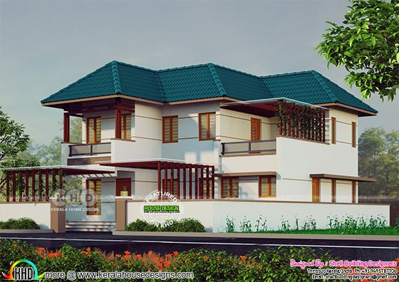 1559 sq-ft 3 bedroom sloping roof house architecture