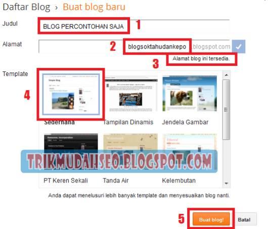 tampilan formulir untuk pembuatan blog baru