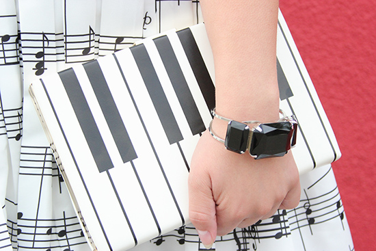 Kate Spade Piano Key Clutch Black and White