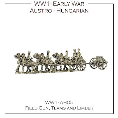 WW1-AH05 Austro-Hungarian Early War 76.5mm Field Guns, Teams and Limbers - ( x2 + bases)