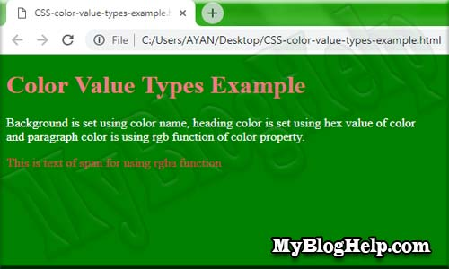 CSS color value types