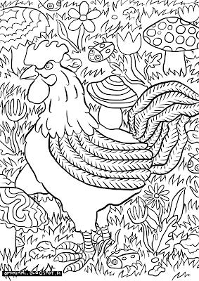 A coloring page of a rooster and mushrooms / Värityskuva kukosta ja sienistä