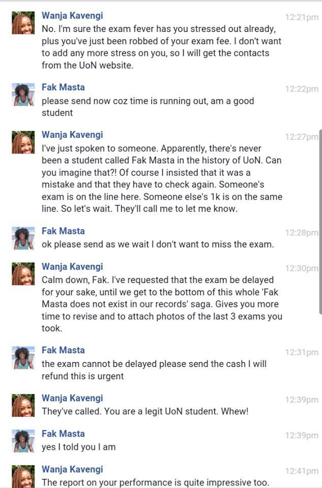 Lol. Check out how this Kenyan lady played an online scammer