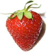 Beautiful ripe red strawberry with stem.