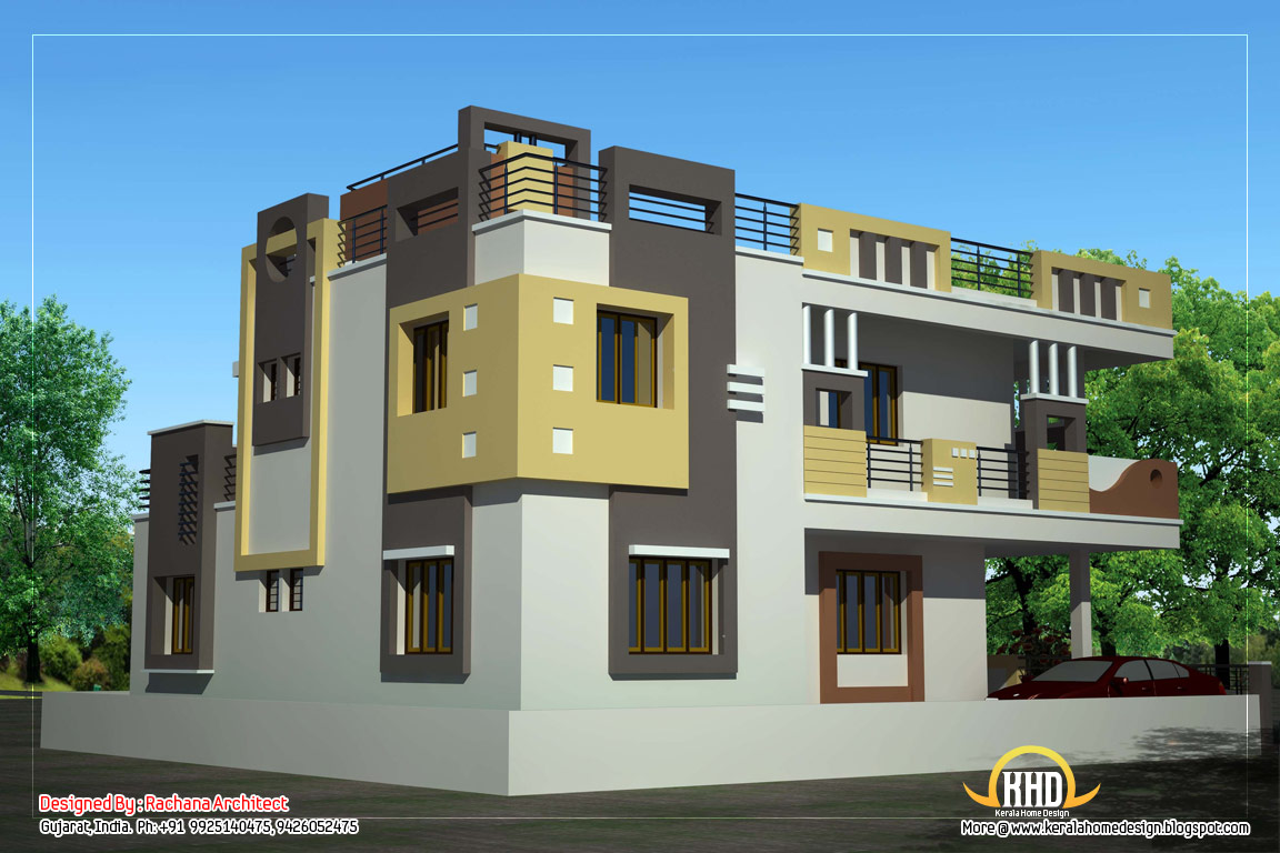 Duplex house plan and elevation 2878 sq ft kerala for Front elevations of duplex houses