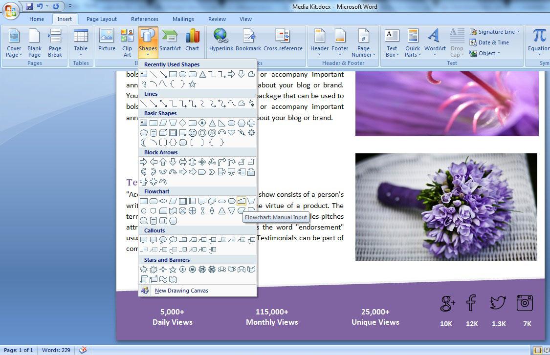 add flowchart and shape inside media kit template