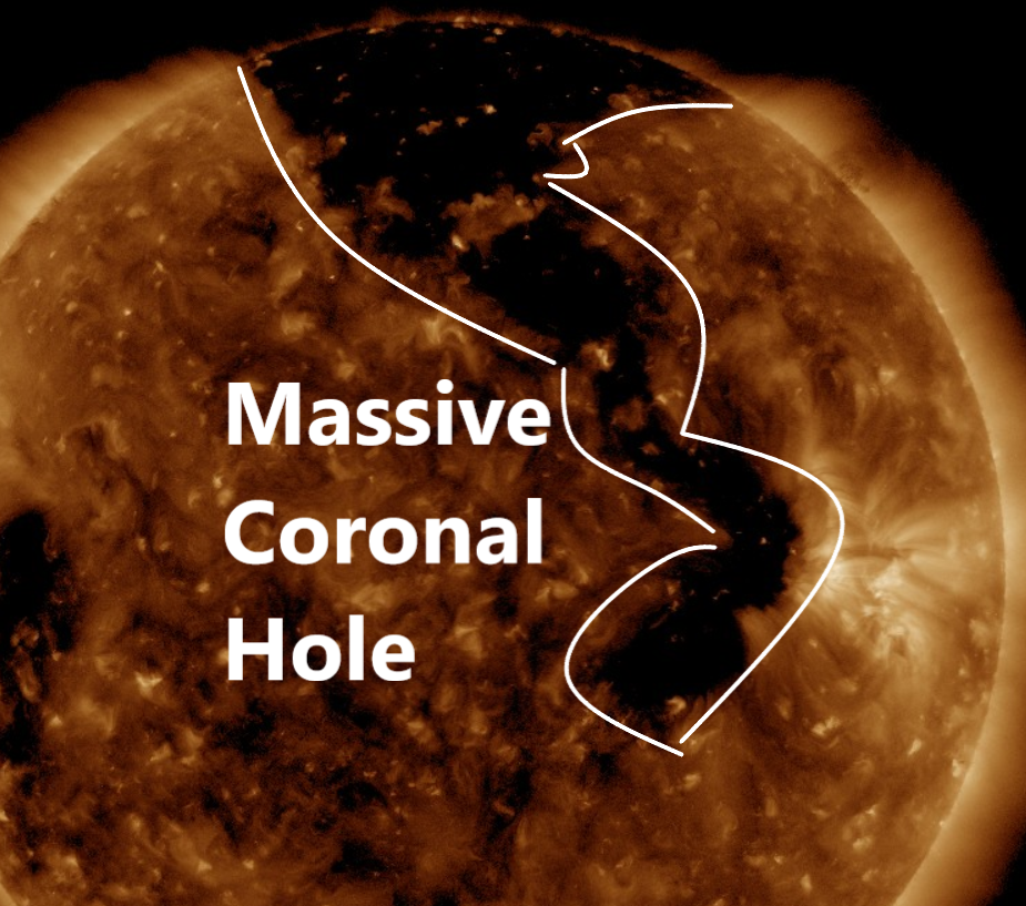 Sun is split in two: A massive coronal hole has opened up on our Sun and is shooting solar wind directly towards Earth  Naamloos