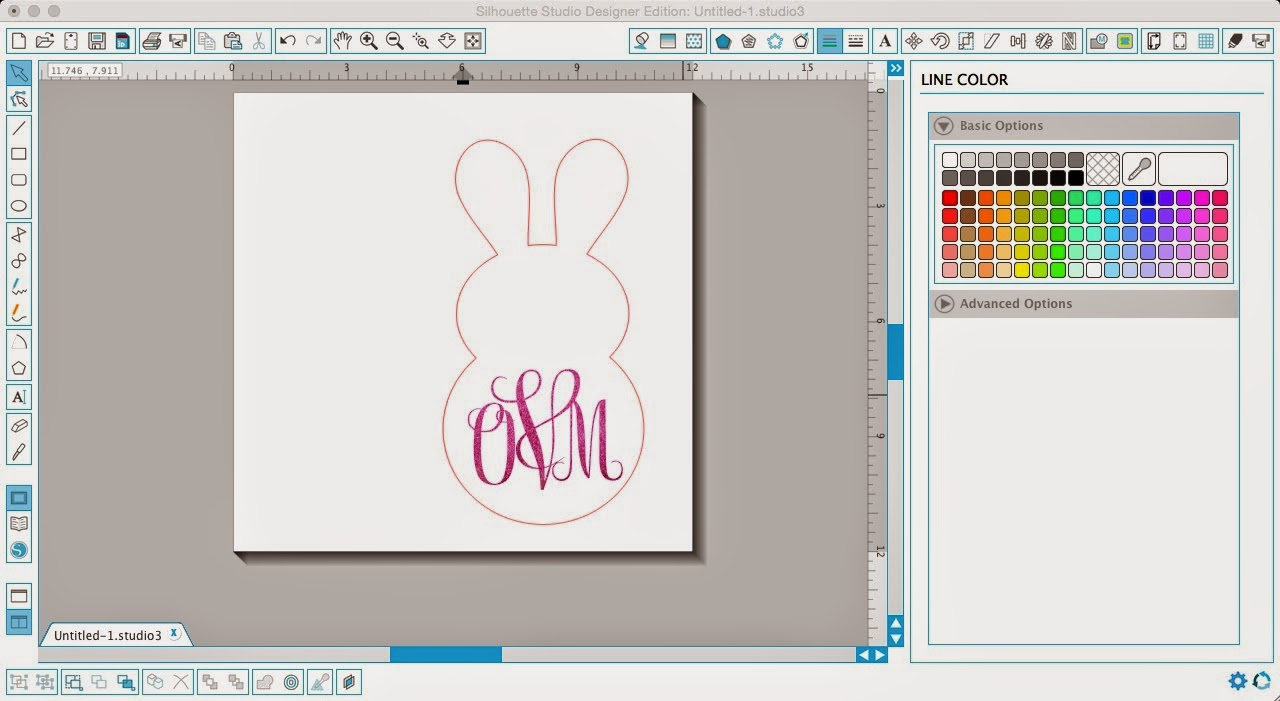 Glitter HTV, glitter heat transfer vinyl, layer, Silhouette Studio, bunny, monogram