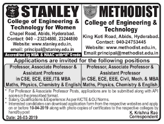 Methodist College of Engineering and Technology, Hyderabad Recruitment 2019 Professor/Associate Professor/Assistant Professor