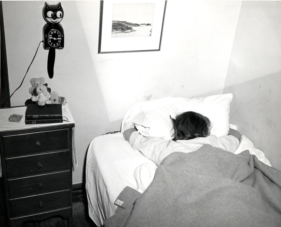 A Student Hugs Her Pillow While Sleeping In Her Dorm Room 1951 Part 50