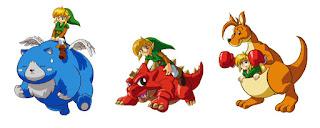 artwork of all three animal buddies with Link