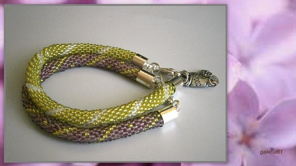 sznur szydełkowo koralikowy, naszyjnik i bransoletka, fioletowy, liliowy