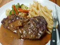 Foto Steak Daging Sapi Saos Jamur Enak