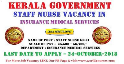 Kerala Govt Staff Nurse Vacancy in Insurance Medical Services 2018