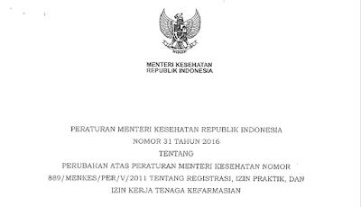 Permenkes No. 31 Tahun 2016 Tentang Registrasi, Izin Praktik dan Kerja Tenaga Kefarmasian