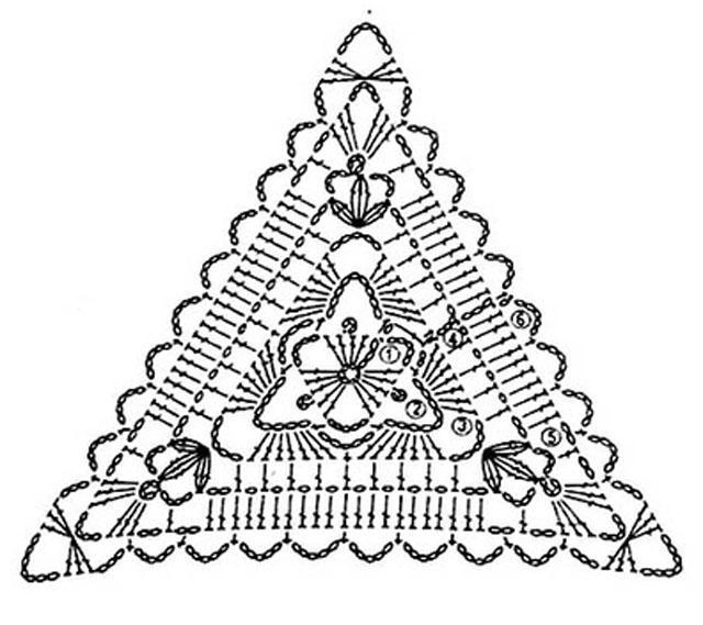 Вязание крючком треугольник в схеме 68