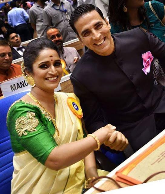 Surabhi Lakshmi with Akshay Kumar at National Film Awards